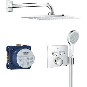Sistem dus incastrat GROHE Grohtherm SmartControl 2S 34742000, termostat, 2 functii, argintiu