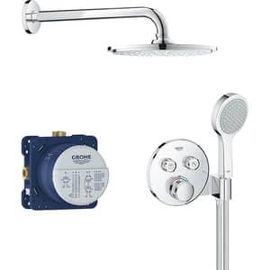 Sistem dus incastrat GROHE Grohtherm SmartControl 2C 34743000, termostat, 2 functii, argintiu