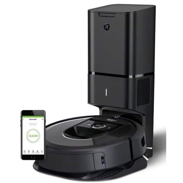 Aspirator robot IROBOT Roomba i7+, 90l, Navigatie iAdapt, 3 trepte AeroForce, negru