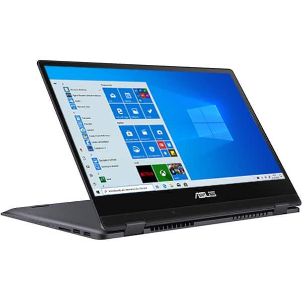 "Laptop 2 in 1 ASUS VivoBook Flip TP412FA-EC111T, 14"" Full HD Touch, Intel Core i3-8145U pana la 3.9GHz, 4GB, SSD 256GB, Intel UHD Graphics 620, Windows 10 Home, gri inchis"