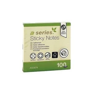 Notite adezive A-SERIES, 100 file, 75 x 75mm, galben