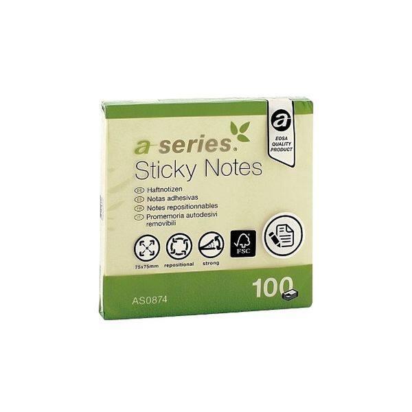 Notite adezive A-SERIES, 100 file, 75 x 75mm, galben