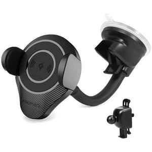 Suport auto cu incarcare wireless PROMATE AlphaMount, bord/parbriz/ventilatie, negru