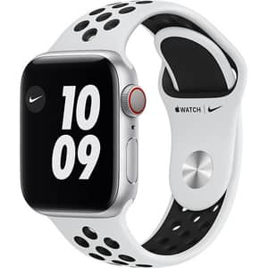 Apple Watch Nike Series 6 GPS + Cellular, 40mm Silver Aluminium Case, Pure Platinum/Black Nike Sport Band