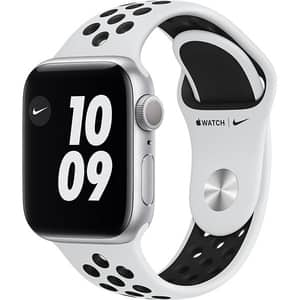 Apple Watch Nike Series 6, 44mm Silver Aluminium Case, Pure Platinum/Black Nike Sport Band