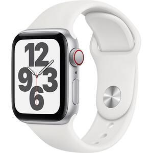 Apple Watch SE GPS + Cellular, 40mm Silver Aluminium Case, White Sport Band