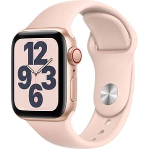 Apple Watch SE GPS + Cellular, 44mm Gold Aluminium Case, Pink Sand Sport Band