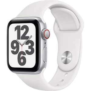 Apple Watch SE GPS + Cellular, 44mm Silver Aluminium Case, White Sport Band