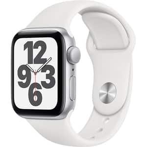 Apple Watch SE, 40mm Silver Aluminium Case, White Sport Band