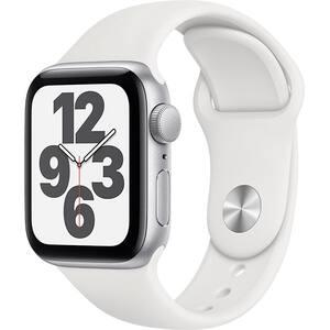 Apple Watch SE, 44mm Silver Aluminium Case, White Sport Band