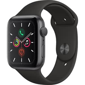 APPLE Watch Series 5 44mm Space Grey Aluminium Case, Black Sport Band