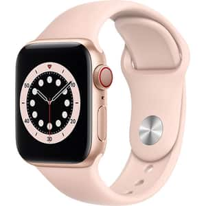 Apple Watch Series 6 GPS + Cellular, 40mm Gold Aluminium Case, Pink Sand Sport Band