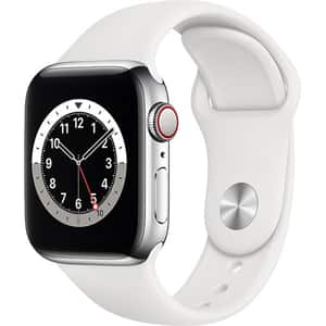 Apple Watch Series 6 GPS + Cellular, 40mm Silver Stainless Steel Case, White Sport Band