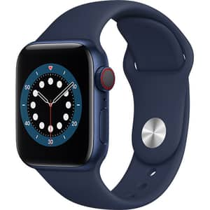 Apple Watch Series 6 GPS + Cellular, 44mm Blue Aluminium Case, Deep Navy Sport Band