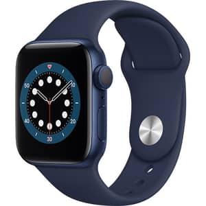 Apple Watch Series 6, 44mm Blue Aluminium Case, Deep Navy Sport Band