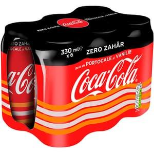 Bautura racoritoare carbogazoasa COCA-COLA Orange&Vanilla Zero Zahar bax 0.33L x 6 doze