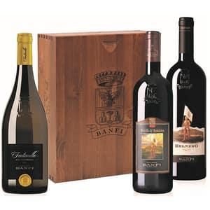 Vin rosu sec BANFI, 0.75L, 3 sticle (2 x rosu/1 x alb) + cutie din lemn