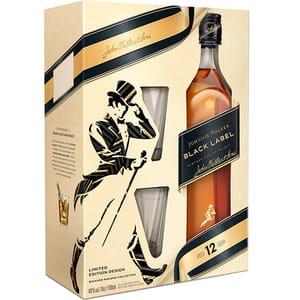 Whisky Johnnie Walker Black Label 12 Yo, 0.7L + 2 pahare
