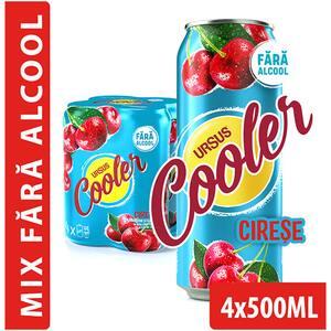 Bere cu arome fara alcool Ursus Cooler Cirese bax 0.5L x 4 doze