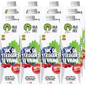 Suc natural ANA ARE, natural 100%, Struguri si Visine, bax 1L x 12 cutii