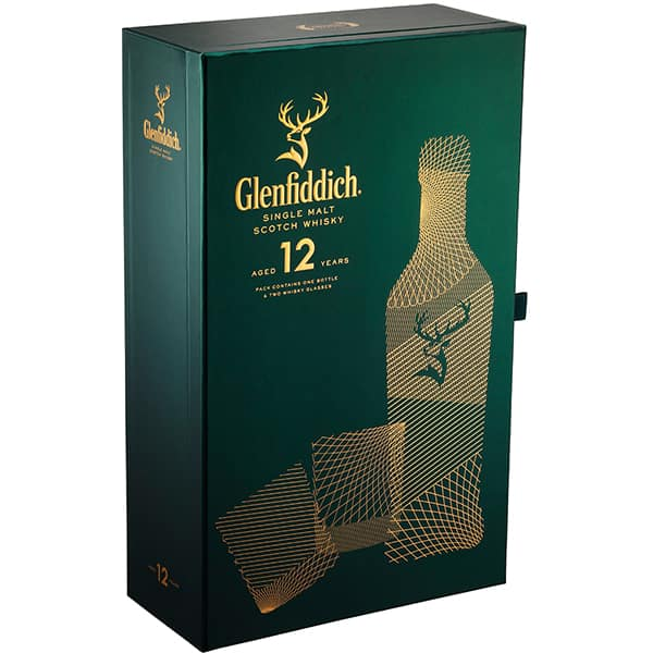 Whisky Glenfiddich 12 Yo, 0.7L + 2 pahare