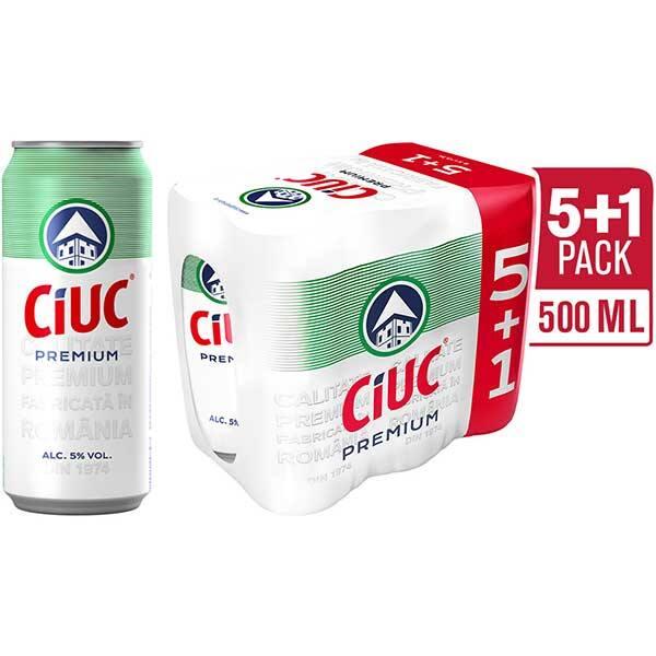 Bere blonda CIUC Premium promo bax 0.5L x 6 cutii