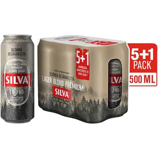 Bere blonda SILVA Premium Larger promo bax 0.5L x 6 cutii