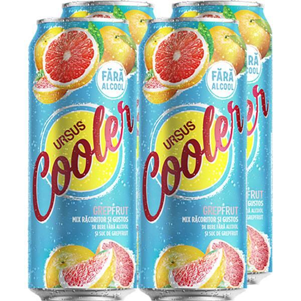 Bere blonda fara alcool URSUS Cooler Grefe bax 0.5L x 4 doze