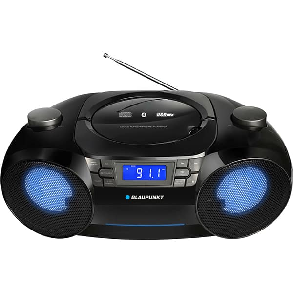 Radio CD portabil BLAUPUNKT Boombox BB31LED, FM, USB, SD, Bluetoooth, negru