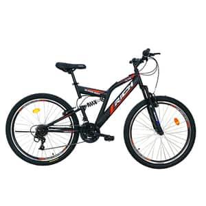 "Bicicleta MTB-FS RICH R2649A, 26"", cadru otel, negru-rosu"
