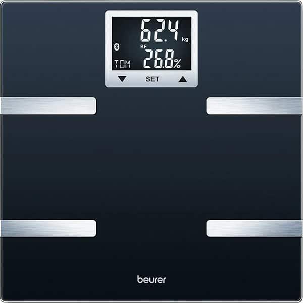 Cantar corporal Smart BEURER BF720, 180kg, Bluetooth, electronic, sticla, negru