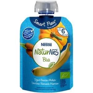 Piure NESTLE NaturNes Bio cu dovleac, banane si morcovi 12428716, 6 luni+, 90g
