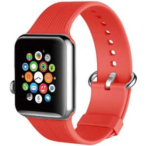 Bratara pentru Apple Watch 42mm/44mm, PROMATE Silica-42, silicon, rosu