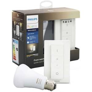 Kit bec LED PHILIPS Hue A19 10.5 (60W), E27, Lumina alba + Intrerupator cu variator