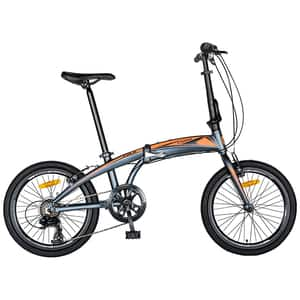 """Bicicleta pliabila CARPAT C2052C, 20"""", cadru aluminiu, gri-portocaliu"""