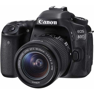 Aparat foto DSLR CANON EOS 80D, 24.2 MP, Wi-Fi, negru + Obiectiv EF-S 18-55mm IS USM