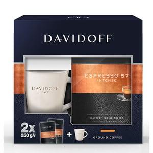 Pachet cafea macinata DAVIDOFF Espresso 57 Intense + cana 506535, 2 x 250g