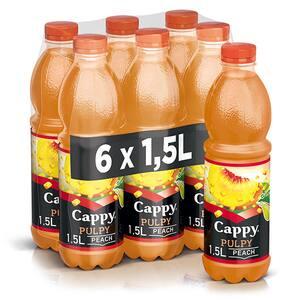 Bautura racoritoare necarbogazoasa CAPPY PULPY Peach bax 1.5L x 6 sticle