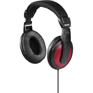 Casti HAMA Basic4Music 184012, Cu fir, Over-ear, negru-rosu