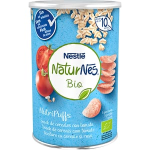 Gustare NESTLE NaturNes BIO NutriPuffs cu cereale si rosii 12395073, 10 luni+, 35g