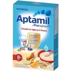 Cereale APTAMIL Pronutravi+ cu lapte si 5 fructe 610836, 8 luni+, 225g