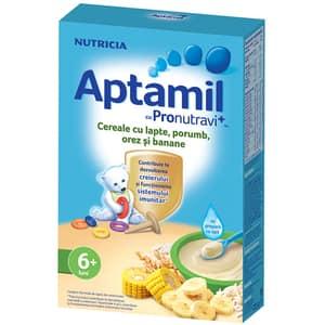 Cereale cu lapte, porumb, orez si banane APTAMIL cu Pronutravi+ 611927, 6 luni+, 225g
