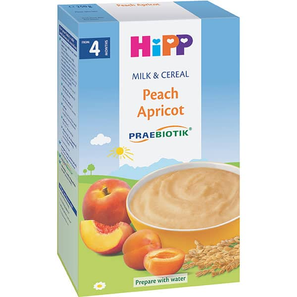 Cereale HIPP cu lapte, piersici si caise 1400, 4 luni+, 250g