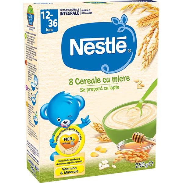 Cereale NESTLE 8 Cereale cu Miere 12385745, 12 luni+, 250g