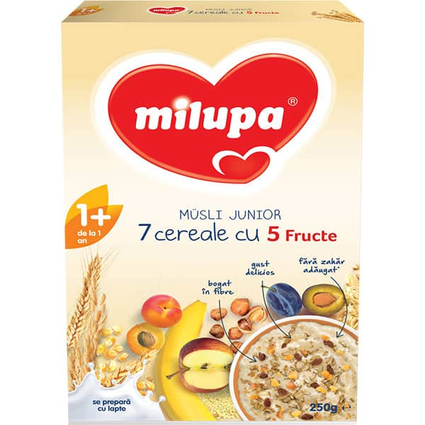 Cereale MILUPA Musli Junior 7 cereale cu 5 fructe 542121, 12 luni+, 250g