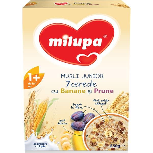 Cereale MILUPA Musli Junior 7 cereale cu banane si prune 544480, 12 luni+, 250g