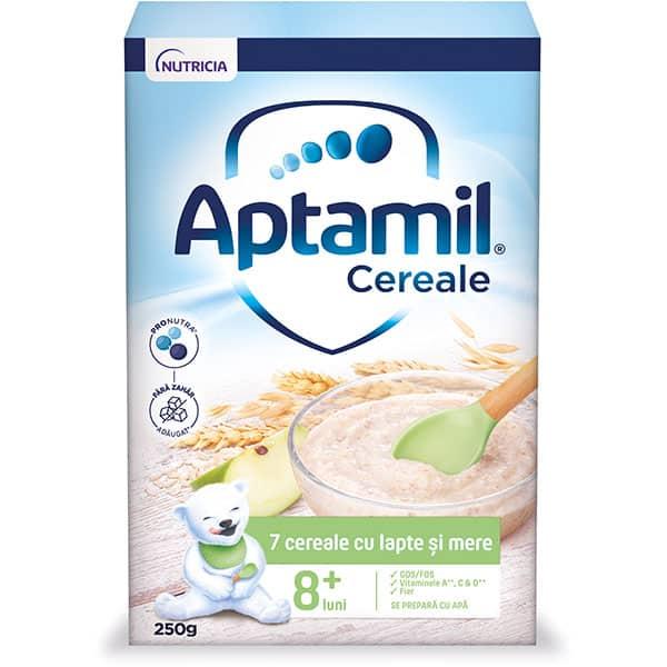 Cereale APTAMIL 7 cereale cu lapte si mere 624570, 8 luni+, 250g