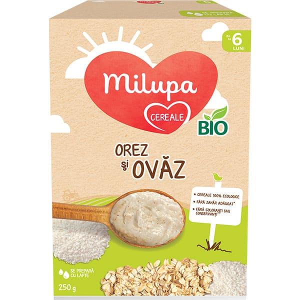 Cereale MILUPA Orez si ovaz BIO 657541, 6 luni+, 250g