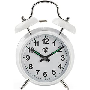 Ceas desteptator analogic de birou NEDIS Vintage CLDK007WT, 12 cifre, fundal alb iluminat, alb