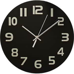 Ceas de perete NEDIS CLWA006GL30BK, 12 cifre, diametru 30 cm, negru